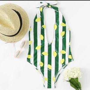 Solid & Striped One Piece Halter Swim Suit